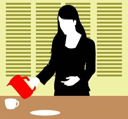 Illustration of silhouette of a lady pouring tea  illustration