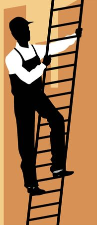 laborer: Illustration of silhouette of a man climbing ladder
