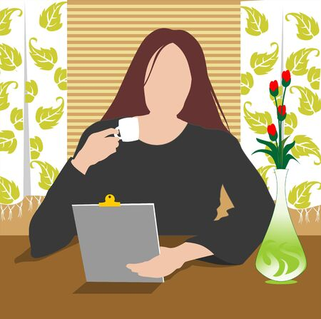 Illustration of silhouette of lady reading  illustration