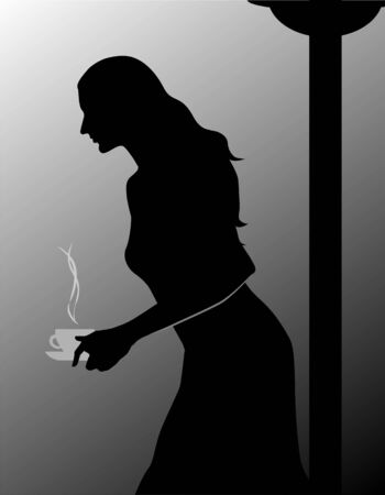 Illustration of silhouette of a lady with coffee  illustration