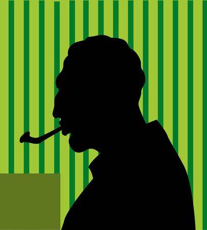 Illustration of a silhouette of man smoking Stock Illustration - 3465763