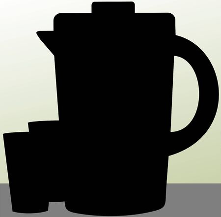 refreshment: Illustration of silhouette of a water jug and glasses