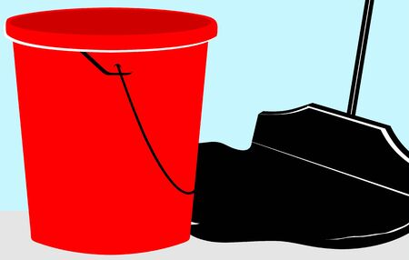 rinse: Illustration of a mopping brush and bucket