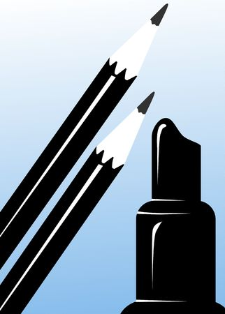 opened eye: Illustration of a black eye liner pencil with lipstick
