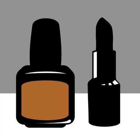silhouette of lipstick and nail polish  photo