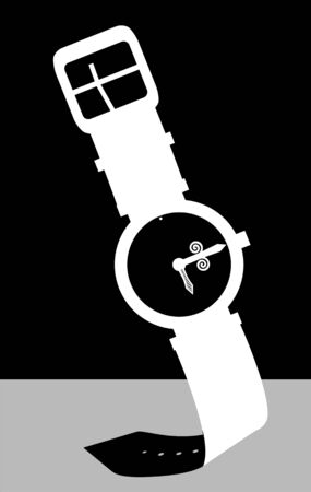 violate: silhouette of a watch with black strap.