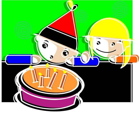 Illustration of a boy and girl standing near a birthday cake Stock Illustration - 3659144