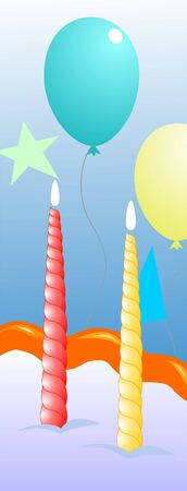 Illustration of balloons and candle in a party illustration
