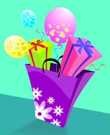 Illustration of a basket of giftboxes Stock Illustration - 3659119