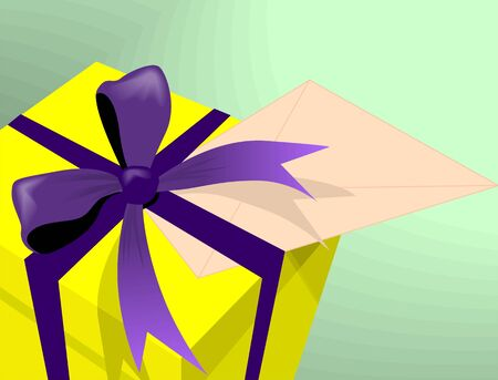 closed ribbon: Illustration of a gift box and envelope  Stock Photo