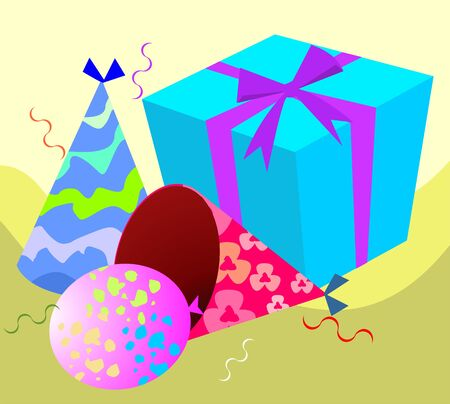 Illustration of a gift box, hat and balloons Stock Illustration - 3659118