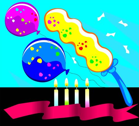 Illustration of candles lighted and balloons  illustration