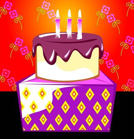 Illustration of a gift box and birthday cake  illustration
