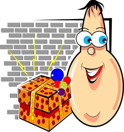 Illustration of a cartoon man  and box   illustration
