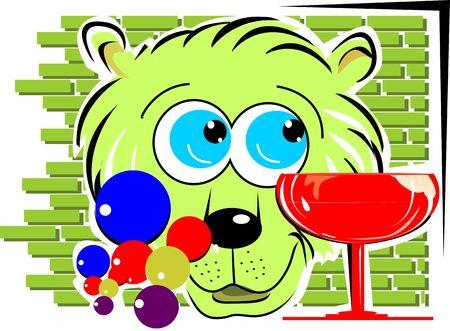Illustration of a cat near wine globet  illustration