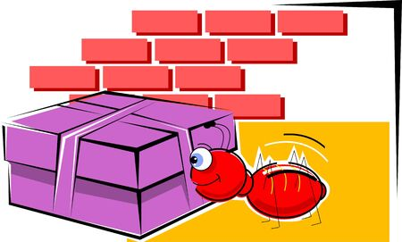 closed ribbon: Illustration of a gift box and ant  Stock Photo