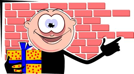 Illustration of a gift box and cartoon man  illustration
