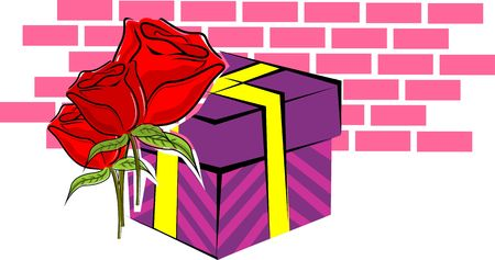 Illustration of a gift box and red roses Stock Illustration - 3751823
