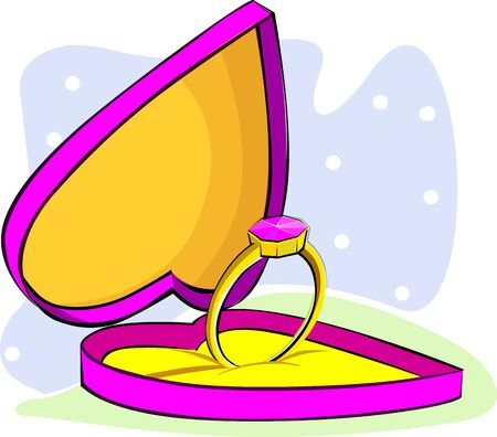 Illustration of a ring in a heart shape box  illustration