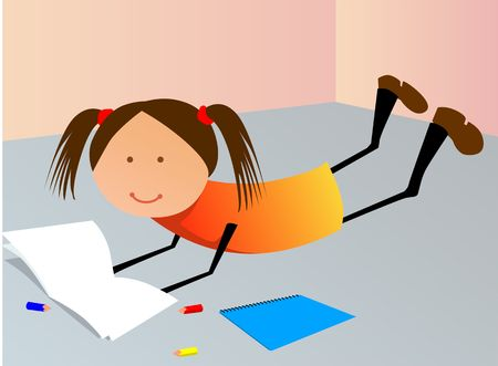 Illustration of a girl lying in the floor and reading