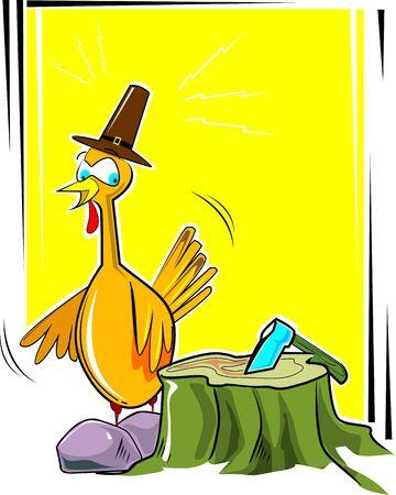 cartoon axe: Illustration of a cartoon turkey fowl