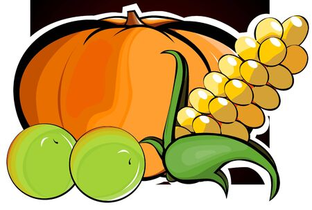 Illustration of pumpkin, maize and green berries  illustration