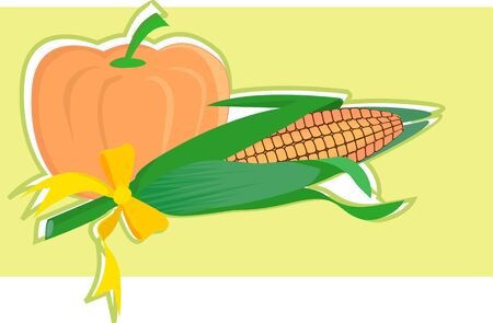 maize: Illustration of pumpkin and maize decorated  Stock Photo