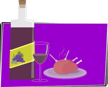 stuffing: Illustration of a baked turkey and wine