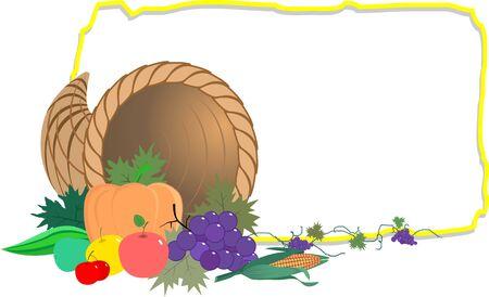 Illustration of  basket of vegetables and frame  illustration
