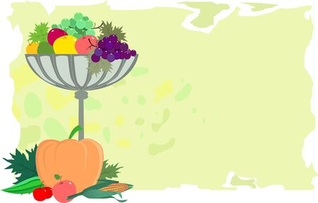 Illustration of a bowl of vegetables  illustration