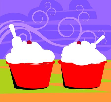 creme: Illustration of two cup of ice creme  Stock Photo
