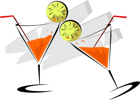 Illustration of two goblets of drinks illustration