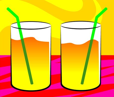 Illustration of two glasses of orange juice  illustration