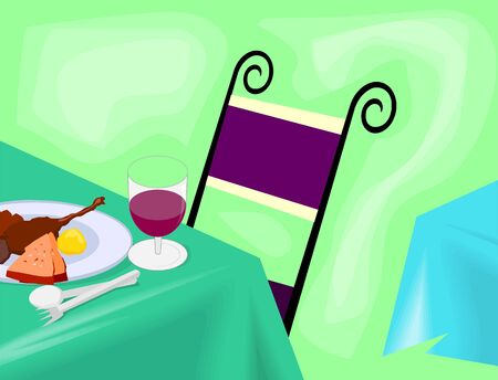 dinning table: Illustration of dinning table with dishes  Stock Photo
