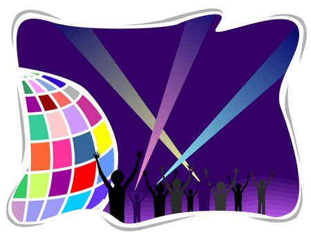 Illustration of a party ball and silhouettes of people  illustration
