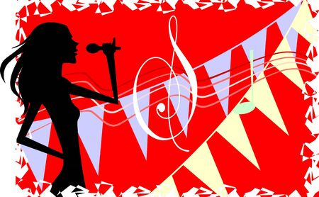 Illustration of silhouette of lady singing Stock Illustration - 3751896