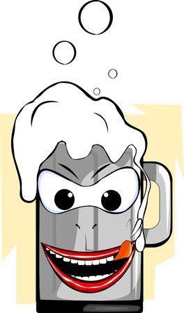 Illustration of a overflowing cartoon beer glass illustration