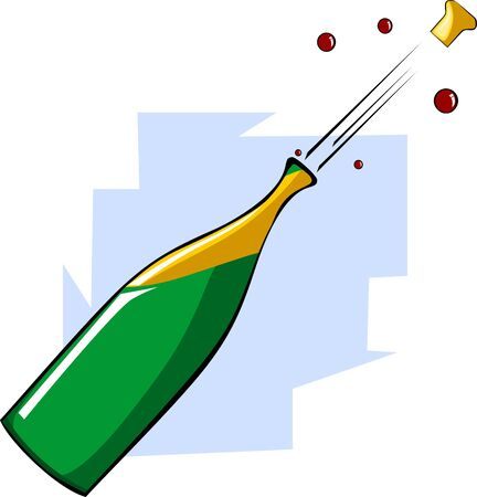 Illustration of cork coming out of  the champagne bottle Stock Illustration - 3770905