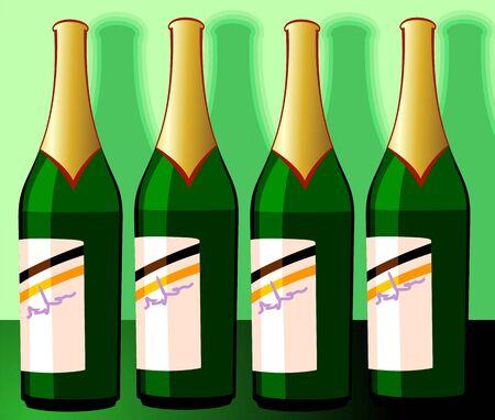 Illustrations of Wine-bottles in a shelf Stock Illustration - 3770932