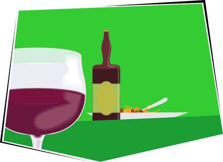 Illustration of liquor bottle and goblet of wine  illustration