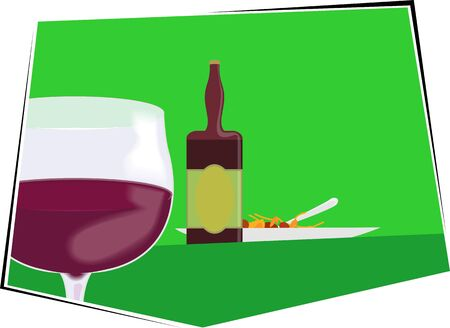 Illustration of liquor bottle and goblet of wine  illustration