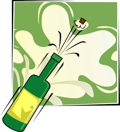 Illustration of cork coming out of  the champagne bottle Stock Illustration - 3770930