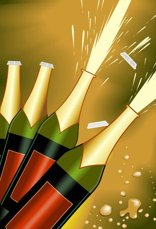 Illustration of cork coming out of  the champagne bottle Stock Illustration - 3770935