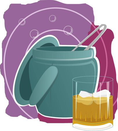 Illustration of a liquor glass and ice cube  basket  illustration