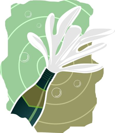 Illustration of drinks coming out of  the champagne bottle Stock Illustration - 3770910