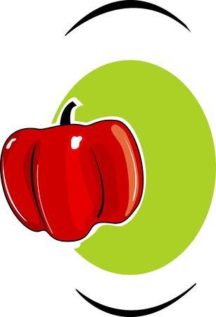 Illustration of a red capsicum in green background Stock Illustration - 3820858