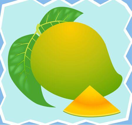 Illustration of a ripe mango and slice  illustration
