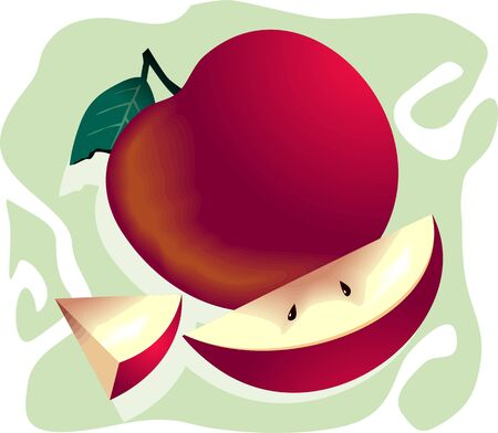 fruitful: Illustration of an apple and a sliced piece  Stock Photo