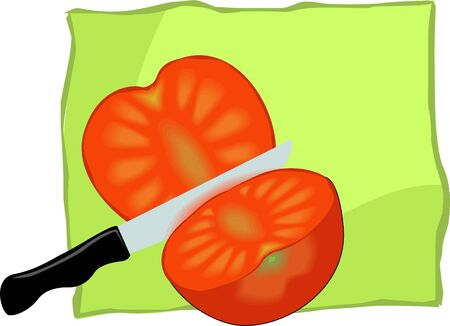 Illustration of a red tomato sliced and knife Stock Illustration - 3820863