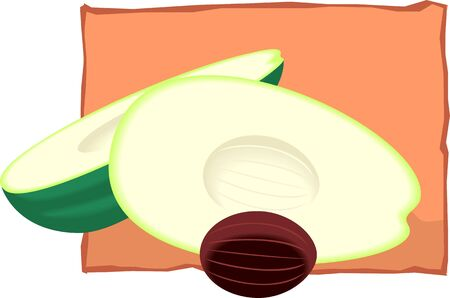 nutmeg: Illustration of a nut and slice of nutmeg